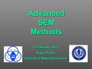 Advanced SEM Methods - The Institute of Material Sciences