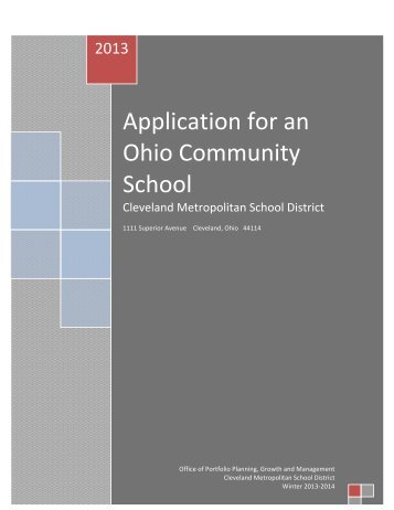 Community School Sponsorship Application - Cleveland ...
