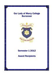2012 Semester 1 Award Recipients.pdf - Our Lady of Mercy College ...