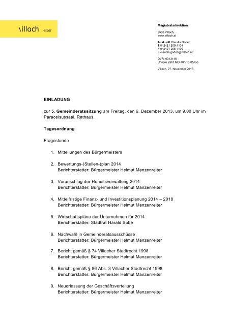 EINLADUNG zur 5. Gemeinderatssitzung am Freitag, den 6 ... - Villach