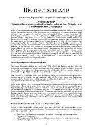 Positionspapier zu Gesundheitskosten - BIO Deutschland