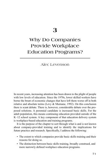 Why Do Companies Provide Workplace Education Programs?
