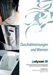 Duschabtrennungen und Wannen - Vany Polysan