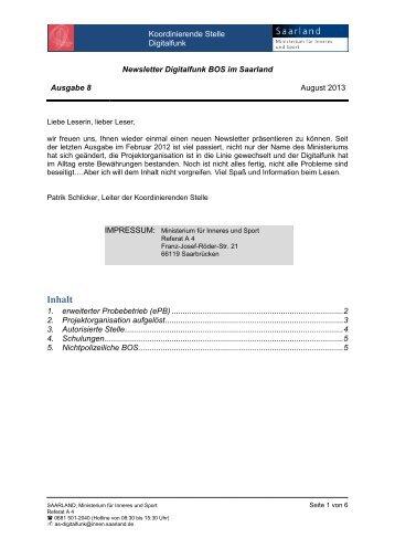 Newsletter Digitalfunk Nr. 8 vom August 2013 - Saarland