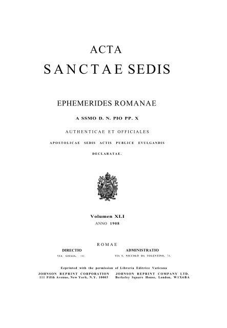 SANCTAE SEDIS - Libr@rsi