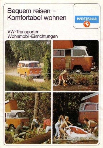"""Westfalia, ca. 1976, """"VW-Transporter Wohnmobil-Einrichtungen"""""""