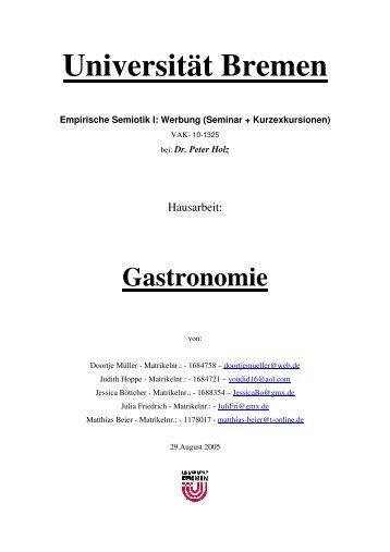 Gastronomie - Semiotics in Bremen - Universität Bremen