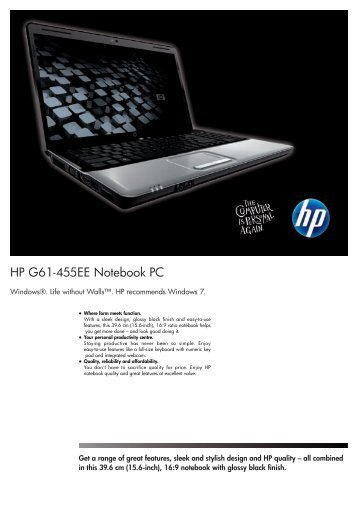 HP G61-455EE Notebook Datasheet - am4computers