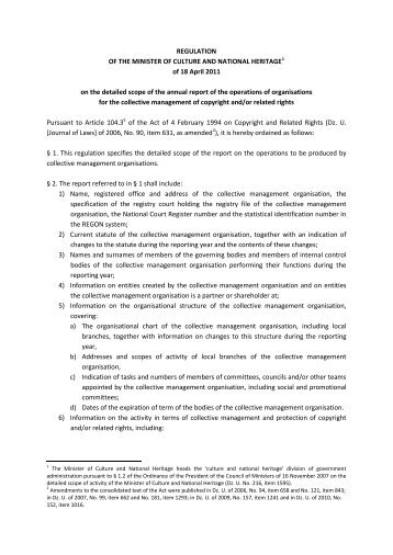 REGULATION OF THE MINISTER OF CULTURE ... - Prawo autorskie