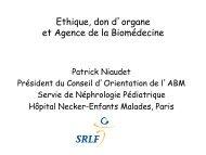 Ethique, don d'organe et Agence de la Biomédecine - SRLF