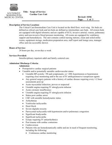 Title: Scope of Service: Cardiac Care Unit Revised: 10/06 Page: 1 of ...