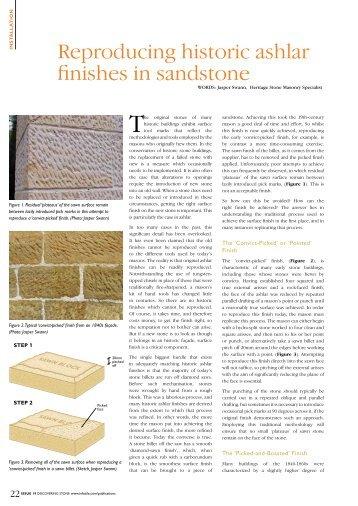 Reproducing historic ashlar finishes in sandstone - Infotile
