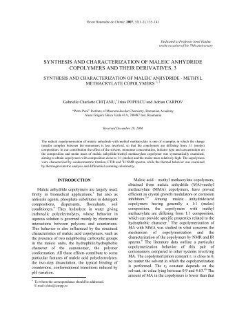 synthesis and characterization of maleic anhydride copolymers and ...