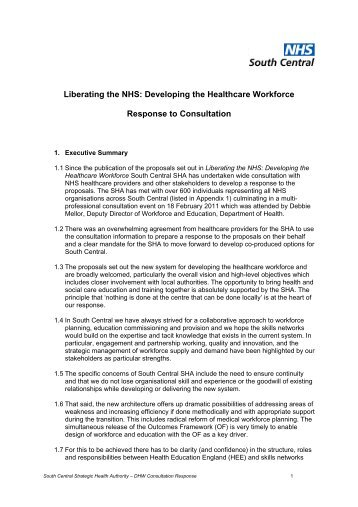 Liberating the NHS: Developing the Healthcare Workforce ...