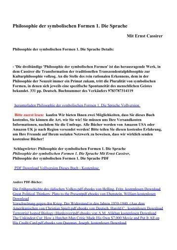 Philosophie der symbolischen Formen 1. Die Sprachepdf ebooks ...