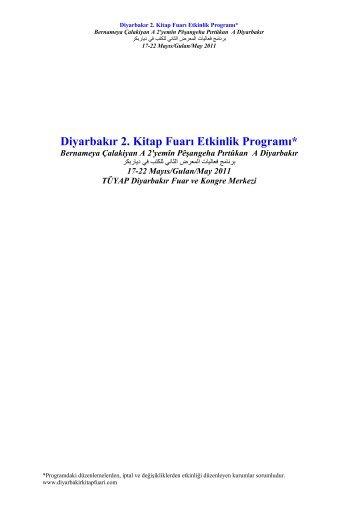 Diyarbakır 2. Kitap Fuarı Etkinlik Programı* - Tüyap