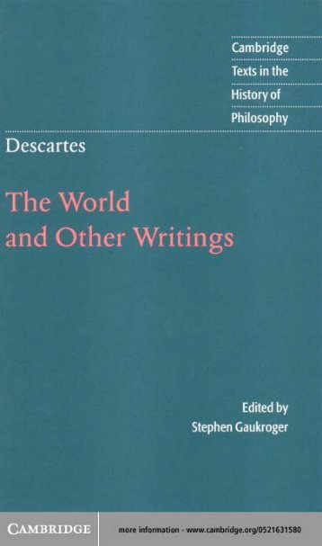 Descartes - The World and Other Writings - Dickinson State University