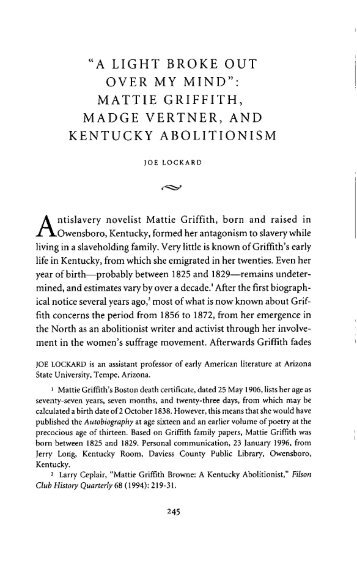 mattie griffith, madge vertner, and kentucky abolitionism - The Filson ...