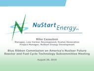 Milestone and Cost Information for NuStart Energy Proposal to DOE ...