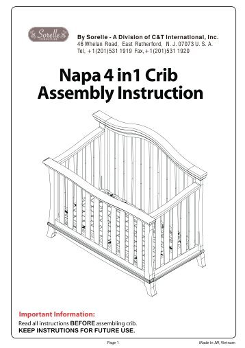 Napa 4 in1 Crib Assembly Instruction - Hayneedle