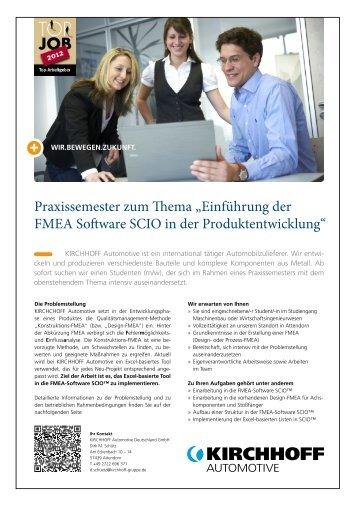 """Praxissemester zum Thema """"Einführung der FMEA Software SCIO in ..."""