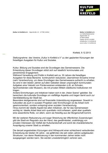 """Krefeld, 9.12.2013 Stellungnahme des Vereins """"Kultur in Krefeld e.V ..."""
