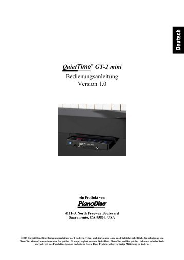QuietTime GT-2 mini Bedienungsanleitung - PianoDisc