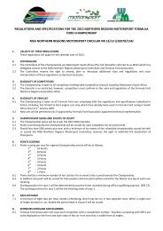 regulations and specifications for the 2013 northern regions ...