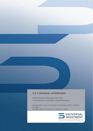 g & p universal aktienfonds - Hauck & Aufhäuser Privatbankiers KGaA