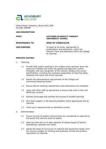 Job Description - Eteach