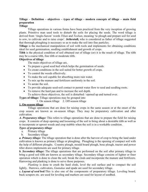 Tillage – Definition – objectives – types of tillage - modern ... - TNAU