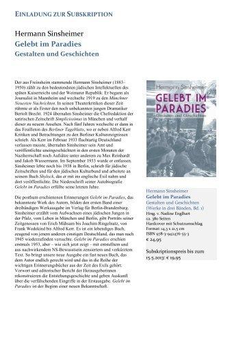 Hermann Sinsheimer Gelebt im Paradies - Verlag für Berlin ...