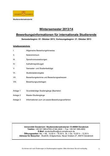 Wintersemester 2013/14 Bewerbungsinformationen für ...