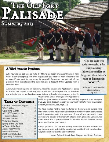 The Palisade Volume 6 Issue 2 - Historic Fort Wayne, Inc.