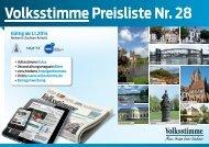 Preisliste Volksstimme Nr. 28 gültig ab 1.1.2014