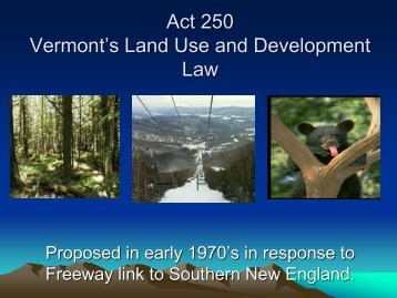 Act 250 Vermont's Land Use and Development Law