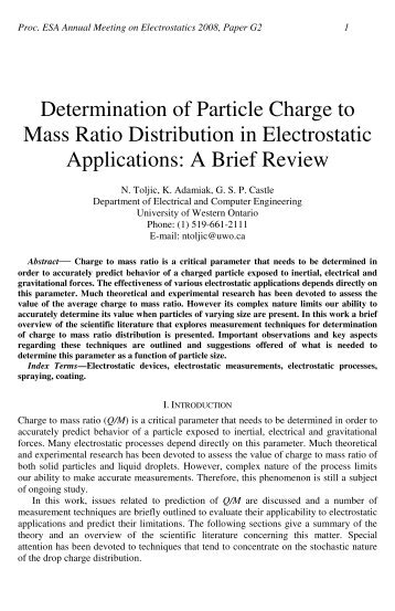 Determination of Particle Charge to Mass Ratio Distribution in ...