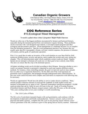 Ecological Weed Management - Canadian Organic Growers