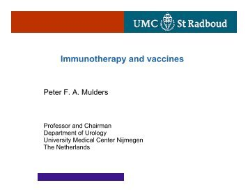 Immunotherapy and vaccines - European Association of Urology