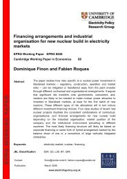 Financing arrangements and industrial organisation for new nuclear ...