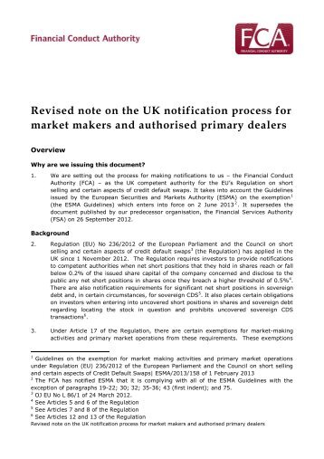 Revised note on the UK notification process for market makers and ...