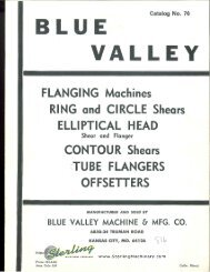 Blue Valley Flanging Machines Ring and Circle - Sterling Machinery