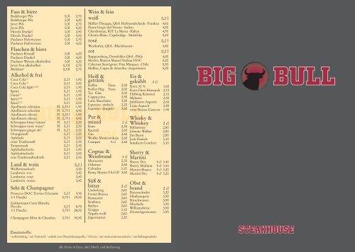 Speisekarte PDF Download - Big Bull