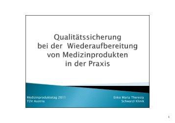 Medizinproduktetag 2011 Enko Maria Theresia TÜV Austria ...