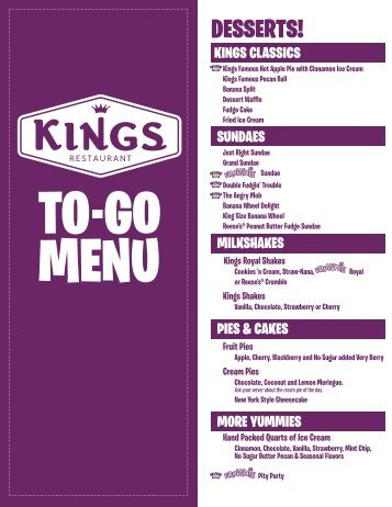 DESSERTS! - Kings Family Restaurants