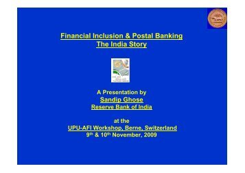the India Story - Postal Financial Inclusion