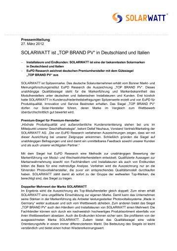 """SOLARWATT ist """"TOP BRAND PV"""" in Deutschland und Italien"""
