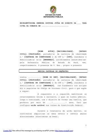 Cautelar Sequestro de bens - Defensoria Pública do estado do Pará