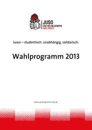 StuPa Wahlprogramm 2013 - Juso-Hochschulgruppe Karlsruhe