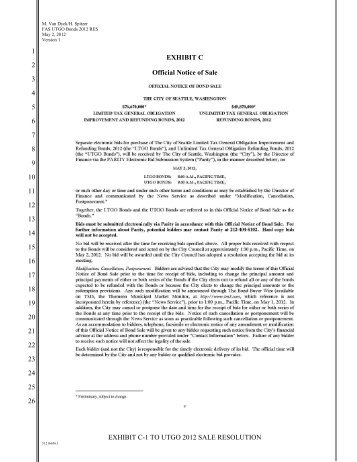 EXHIBIT C-1 TO UTGO 2012 SALE RESOLUTION 1 2 3 4 5 6 7 8 9 ...